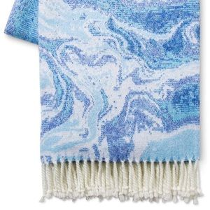 NWT Blue and White Marble Throw